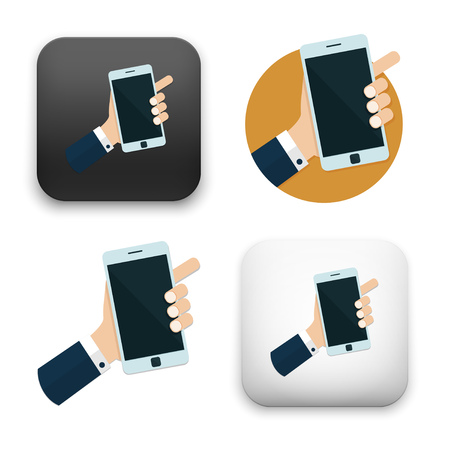 Illustration of Hand holding mobile phone icon Illustration