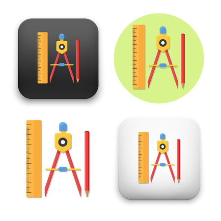 Flat Vector icon - illustration of drawing compass pencil and ruler icon.