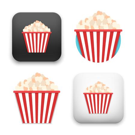 Flat Vector icon - illustration of Popcorn icon.