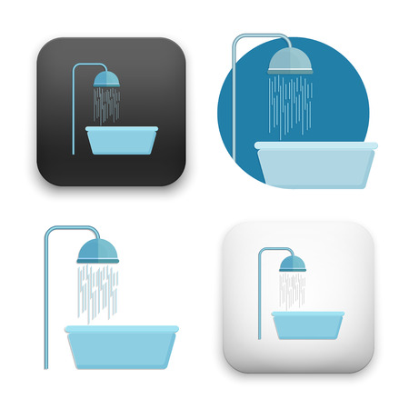 flat Vector icon - illustration of shower icon