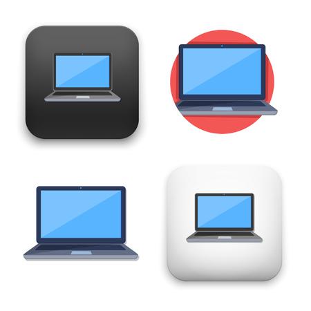 Flat Vector icon - illustration of laptop icon.