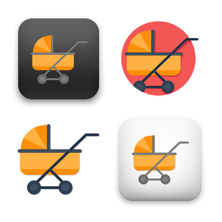 Baby pram icons - flat vector illustration on white background.