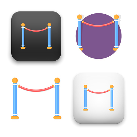 A flat Vector icon  illustration of Barrier Rope icon Illustration