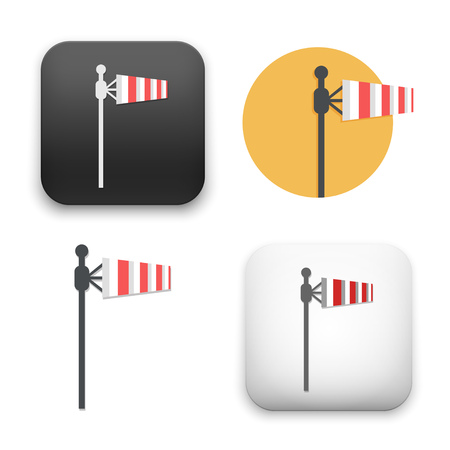 Windsock icons - flat vector illustration on white background.