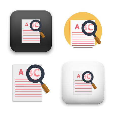 Fat Vector icon - illustration of document Search icon.