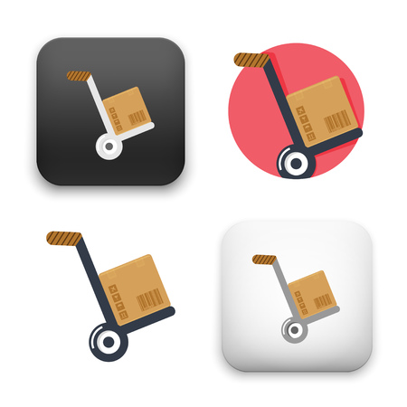 A flat Vector icon illustration of hand truck icon
