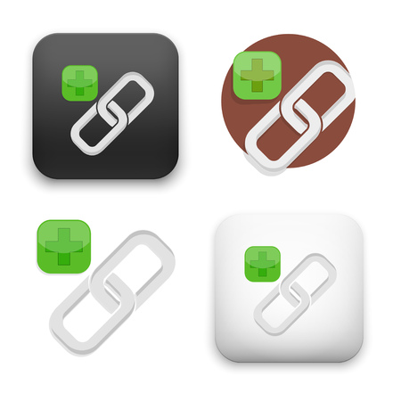 link chain icons - flat vector illustration on white background. Çizim