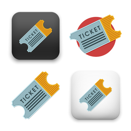 ticket icons - flat vector illustration isolated on  background.