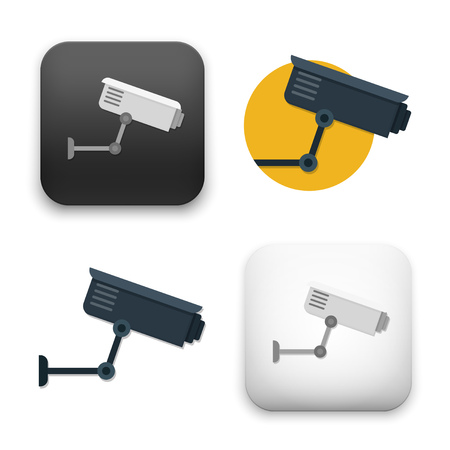 CCTV, Video Surveillance Camera icons - flat vector illustration isolated on  background.