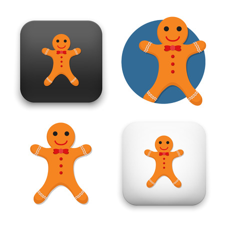 Gingerbread man icons - flat vector illustration isolated on  background.