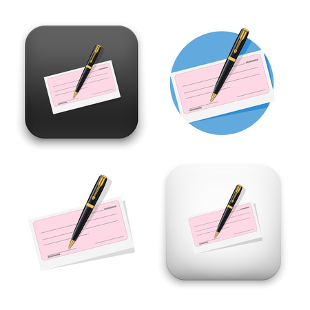 check and pen icons - colored flat vector illustration isolated on  background.