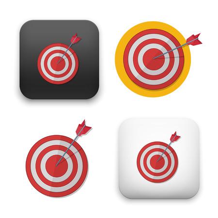 Red darts target aim. Successful shoot  Vector illustration Illustration