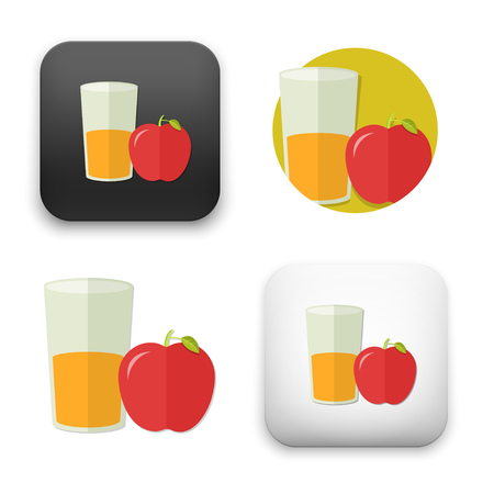 flat Vector icon - illustration of Apple fruit with juice icon