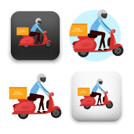 Delivery icons with man on scooter - colored flat vector illustration isolated on  background.