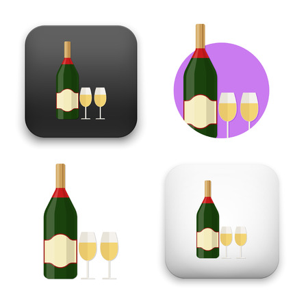 Champagne bottle with glass icons - colored flat vector illustration isolated on  background.