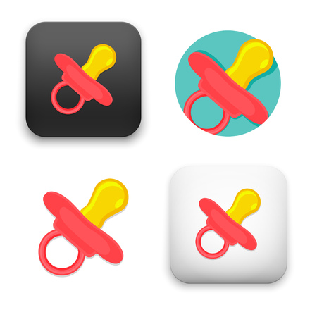 baby pacifier icons - colored flat vector illustration isolated on  background. Illustration