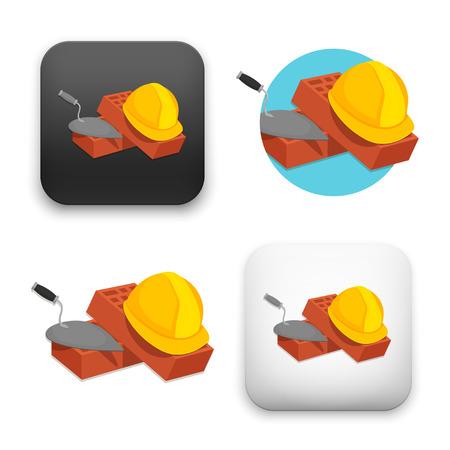 Illustration of helmet bricks and trowel icon. Illustration