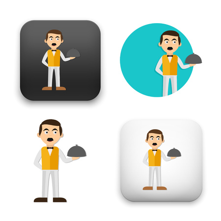 Flat Vector icon - illustration of waiter icon. Illustration