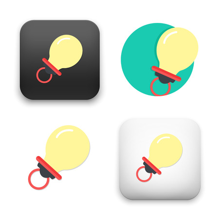pacifier icons - colored flat vector illustration isolated on  background. Illustration