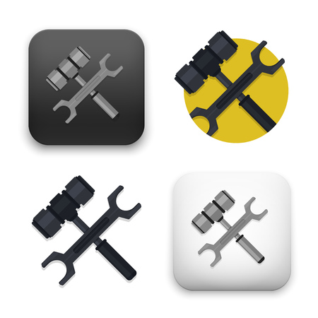 Flat Vector icon - illustration of tool and sign. Illustration