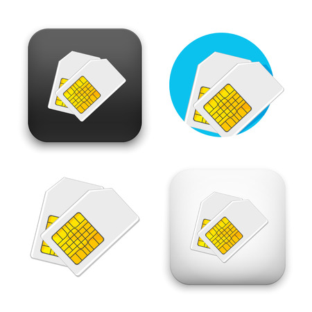 Sim card icons - colored flat vector illustration isolated on  background. Illustration