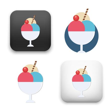 Flat Vector icon - illustration of ice cream icon.