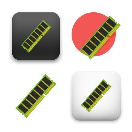 computer memory icons - colored flat style vector illustration isolated on  background.