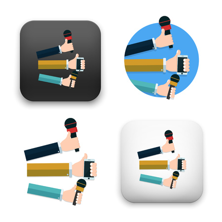 Flat Vector icon - hand holding microphone. Live news. Press illustration.