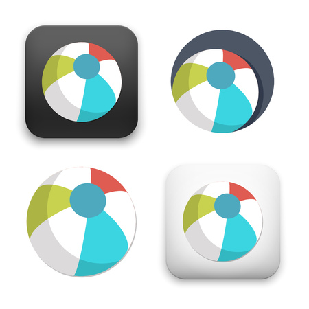 Beach Ball icons - colored flat style vector illustration isolated on  background.