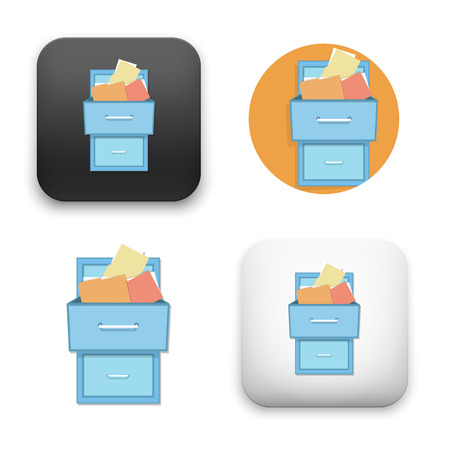 Flat Vector icon - illustration of filling cabinet icon. Illustration