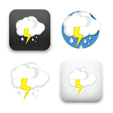 Flat Vector icon - illustration of cloud and lightning icon. Illustration