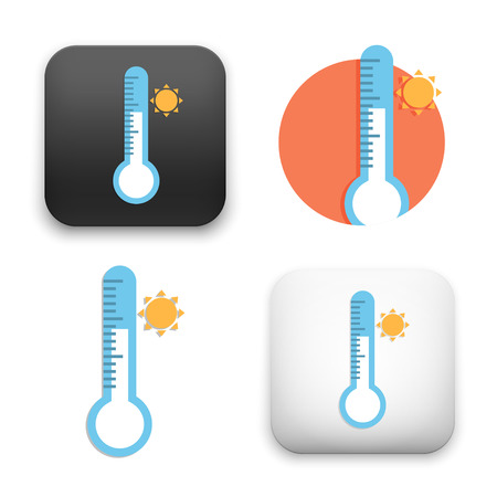 thermometer with sun icons - colored flat style vector illustration isolated on  background.