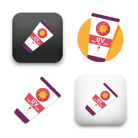 sun cream icons - colored flat style vector illustration isolated on  background.