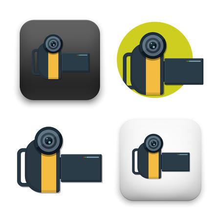 A flat Vector icon  illustration of Video camera icon  イラスト・ベクター素材