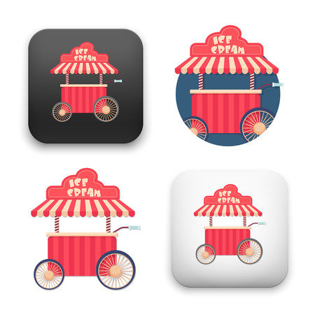ice cream cart icons - colored flat style vector illustration isolated on  background. Illustration