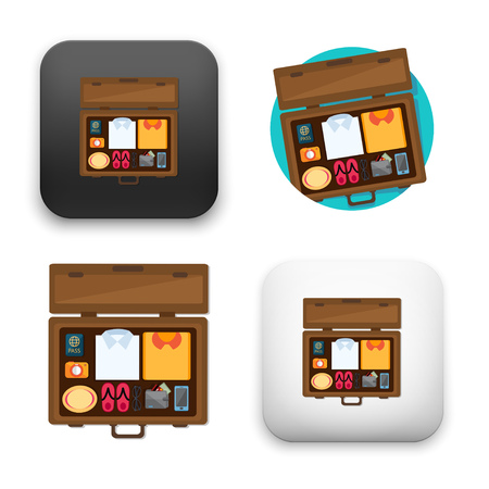 Packed suitcase for holiday icons - colored flat style vector illustration isolated on  background. Ilustração