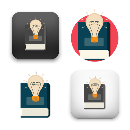 light bulb over book icons - colored flat style vector illustration isolated on  background.