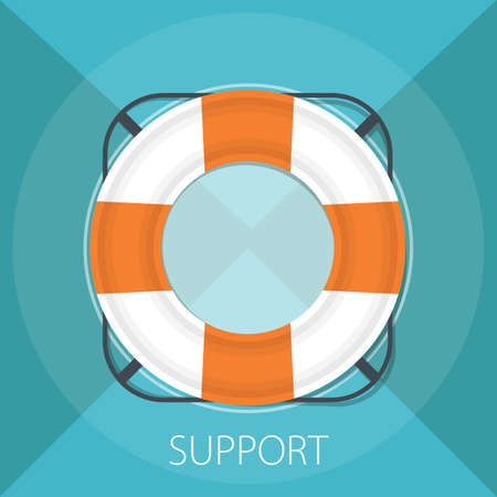 """Vector illustration of lifeguard support & preserver - online help with rescue symbol """" support """"safety lifesaver concept"""