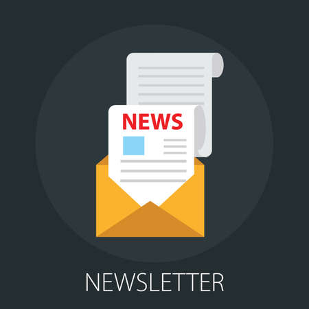"""Vector illustration of media news and newspaper with """"newsletter"""" information and news article concept Vecteurs"""