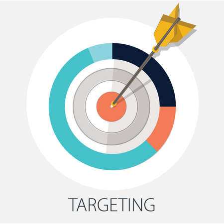 """Vector illustration of planing strategy & creative idea concept """" goal & target """" success and target concept"""