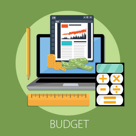 Budget planning concept in flat style. Modern design for money Budget, web sites, infographic. Vector illustration 向量圖像