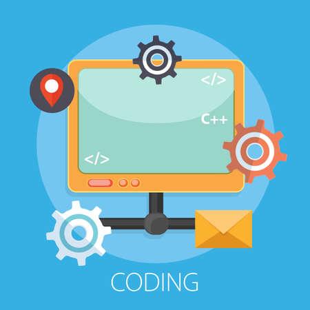 Software, web development, programming concept. Abstract Programming language and program code. Technology process of Software development - Vector 向量圖像