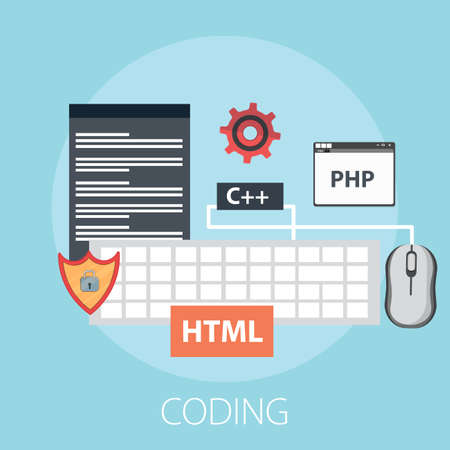 Vector illustration of coding & development or software solution concept with