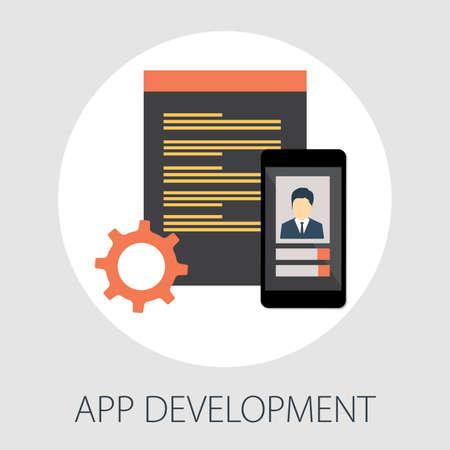 web and app development programming, coding, programming languages, flat illustration concept 向量圖像
