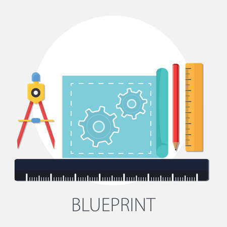 blue print for engineering subjects. Technical illustration. Mechanical engineering icon. Technical design 向量圖像