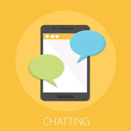 Chat messages notification on smartphone vector illustration, flat sms bubbles on mobile phone screen, chatting on cellphone