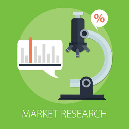 Vector illustration of marketing research and business analysis with
