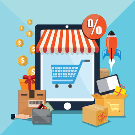 Vector illustration of online store & online shopping concept