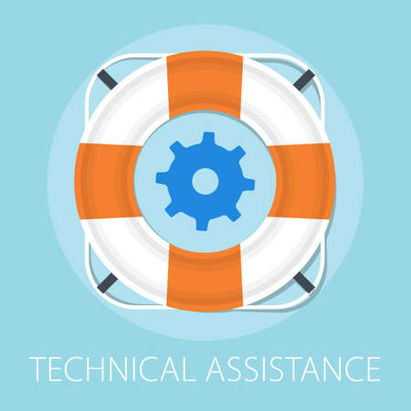 Vector illustration of lifeguard assistance support & preserver - online help with technical assistance