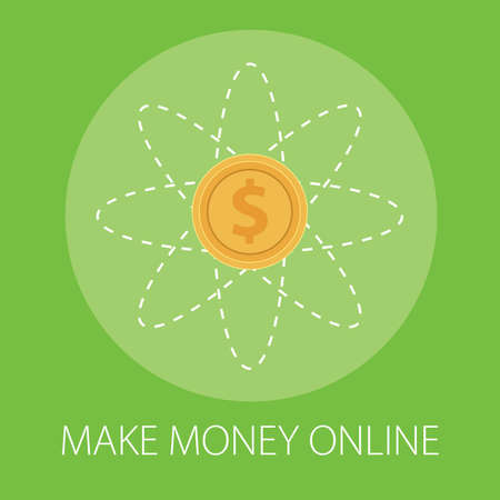 Vector illustration of online business and internet money with